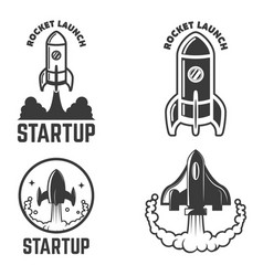 set of emblems with rocket launch startup vector image