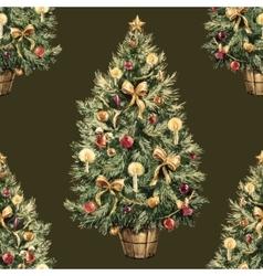 Watercolor Christmas tree pattern vector image vector image