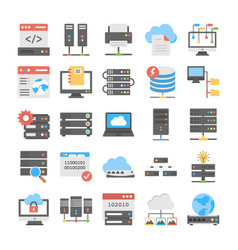 Web hosting coloured icons set vector