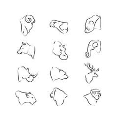wild animals heads icons on white background vector image vector image