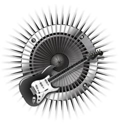 background with electric guitar and speaker vector image vector image