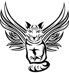 Cat with wings tattoo stencil vector image