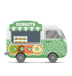 Donat street food caravan trailer vector
