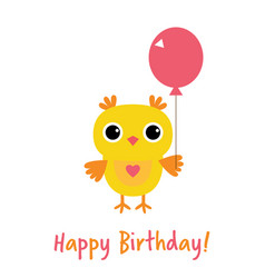 happy birthday card with an owl vector image