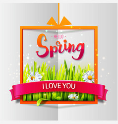 hello spring love card vector image vector image