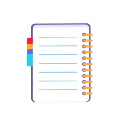 purple notebook icon on white vector image vector image