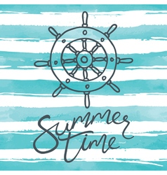 summer time card with helm vector image