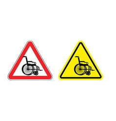 Attention of wheelchair Danger sign silhouette of vector image vector image