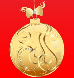 Ball Christmas and ribbon vector image vector image