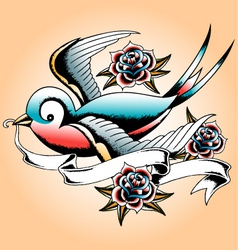 bird tattoo vector image vector image