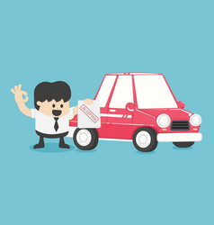 businessmen make car purchase contractsaccepted vector image