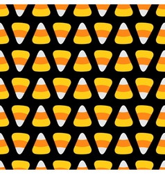 Candy corn food line Happy Halloween Seamless vector image