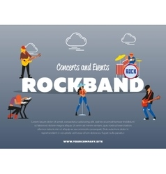 Concert and events rockband banner vector image