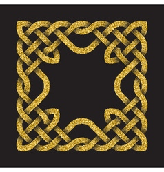 Golden glittering square frame in Celtic knots vector image