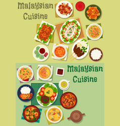 Malaysian cuisine icon set for healthy food design vector