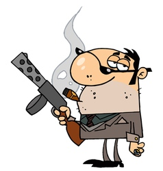 mobster carries weaponbackground vector image vector image