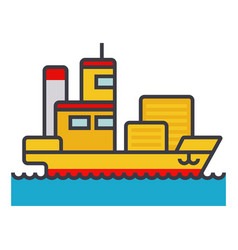 ship cargo container flat line vector image