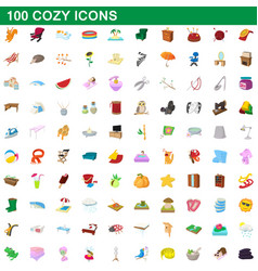 100 cozy icons set cartoon style vector image