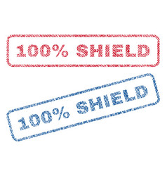 100 percent shield textile stamps vector
