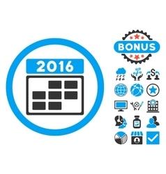 2016 Calendar Grid Flat Icon with Bonus vector image