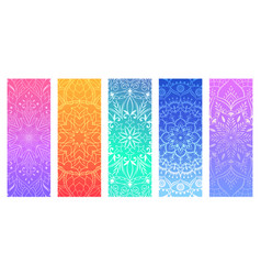 a set of yoga mats with decorative floral mandalas vector image