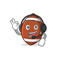 American football character cartoon with headphone vector