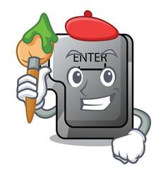 artist button enter in shape mascot vector image