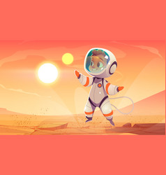Astronaut in spacesuit on mars surface vector