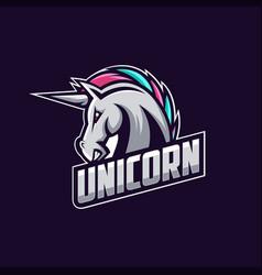 Awesome angry unicorn logo design vector