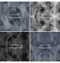 Black backgrounds set abstract polygon triangle vector