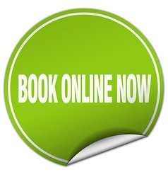 Book online now round green sticker isolated on vector