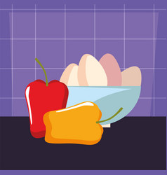 bowl with eggs pepper preparation cooking vector image
