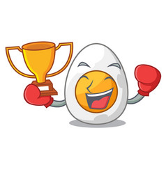 Boxing winner freshly boiled egg isolated on vector
