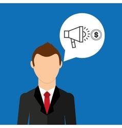 businessman character speaker money market vector image