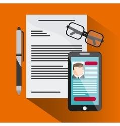 Businessman smartphone pen cv document glasses vector