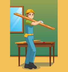 Carpenter carrying lumber vector
