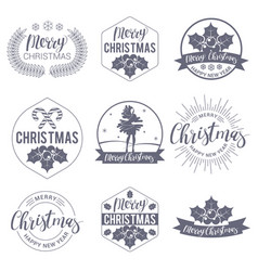 christmas labels and badges vector image