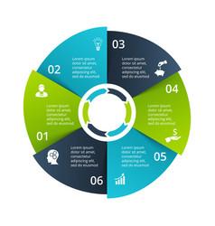 Circle diagram divided into 6 parts steps vector