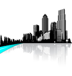 City with skyscrapers reflected in water vector