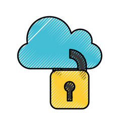 Cloud computing with padlock isolated icon vector