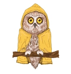 Colorful brown owl in bright yellow raincoat vector image