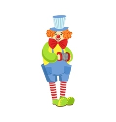 Colorful Friendly Clown With Miniature Accordion vector