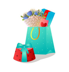 colorful gift bag with fresh flower bouquet and vector image