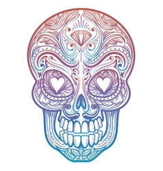 Colorful mexican decorative skull tattoo vector
