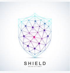 colorful template shield icon protection vector image