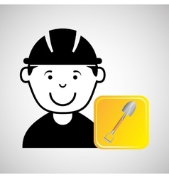 construction worker shovel graphic vector image