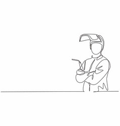 Continuous one line drawing young male welder vector