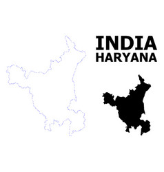 Contour dotted map haryana state with vector
