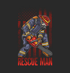 cool fire fighting rescue man use chain saw illust vector image