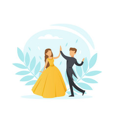 couple dancing waltz classical choreography vector image